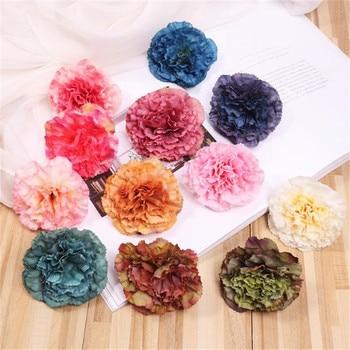 "100Pcs Fake Multilay Flower Head Dia.7.5cm/2.95"" Simulation Carnation for Wedding Home Showcase Decorative Artificial Flowers"