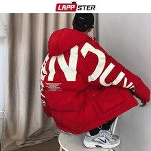 LAPPSTER mężczyźni Streetwear ponadgabarytowych Bubble Jacket 2020 Parka mężczyzna list druku Hip Hop mody wiatrówka damskie płaszcze koreańskie