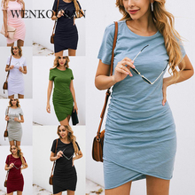 Mini Dress Short-Sleeve Plus-Size Women Summer Vestido Bodycon Solid Casual Slim