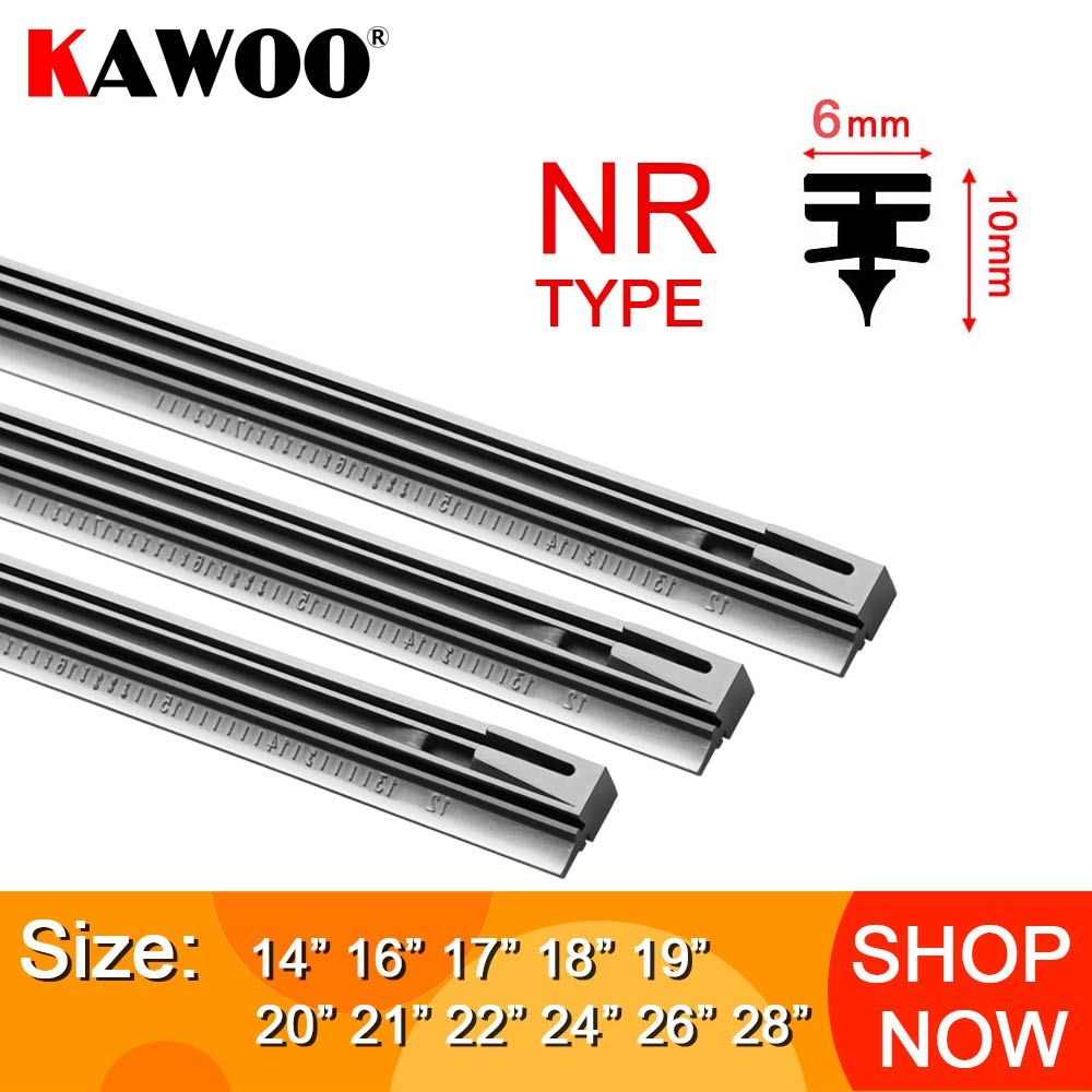 Kawoo pára-brisas do carro lâmina de limpador inserção tira de borracha natural nr 6mm (recarga) 14
