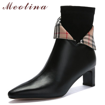 Meotina Winter Ankle Boots Women Natural Genuine Leather Thick High Heel Short Boots Zip Pointed Toe Shoes Lady Fall Size 34-39