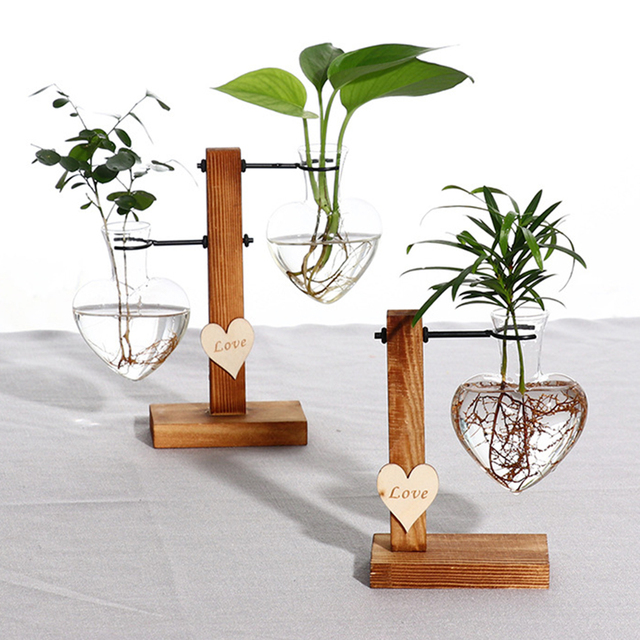 Modern Terrarium Hydroponic Plant Vases Vintage Flower Pot Transparent Vase Wooden Frame Glass Tabletop Plants Home Bonsai Decor 1