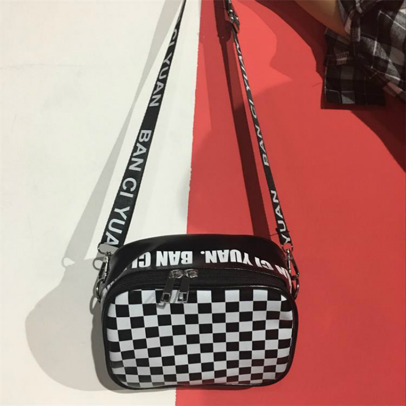 Dual Use Women Checkerboard Crossbody Bag Black And White Plaid Storage Box Personality Shoulder Bag Lattice Student Handbags