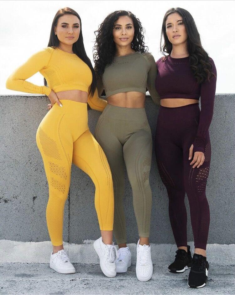 2pcs/set Vital Women Sport Suit Yoga Set Gym Workout Clothes Long Sleeve Fitness Crop Top + High Waist Energy Seamless Leggings