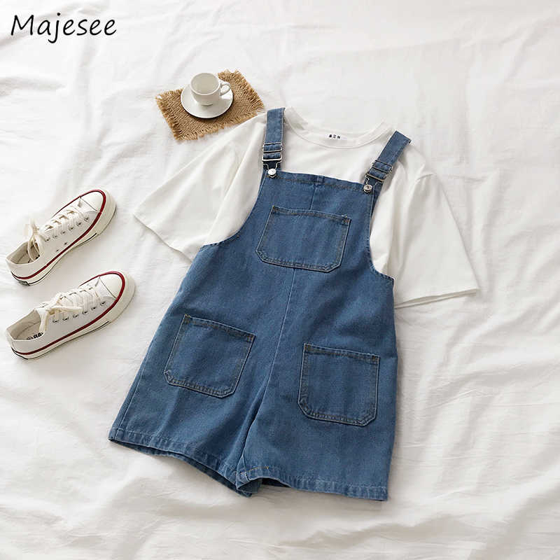 Rompertjes Vrouwen Denim Vintage Solid Simple Student Harajuku All-Match Zomer Meisje Mode Koreaanse Stijl Casual Chic Womens Playsuit