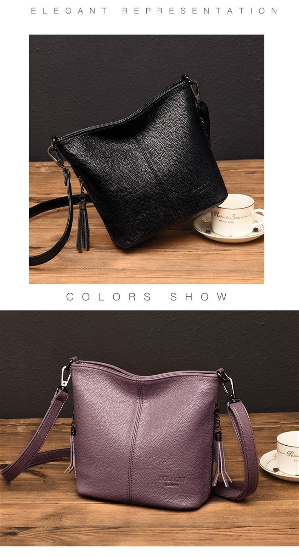 Ladies Hand Crossbody Bags For Women 2020 Luxury Purses And Handbags Women Leather Tassels Shoulder Bags Designer Bucket Sac
