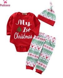Bebê recém-nascido menino meninas roupas de natal 3 pçs bonito natal vermelho macacão topos manga longa calças legging chapéu roupa conjuntos