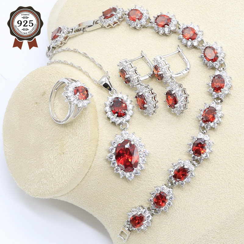 Wedding-Jewelry-Set Earring Necklace Geometric 925-Silver Pendant Bracelet Zircon Red