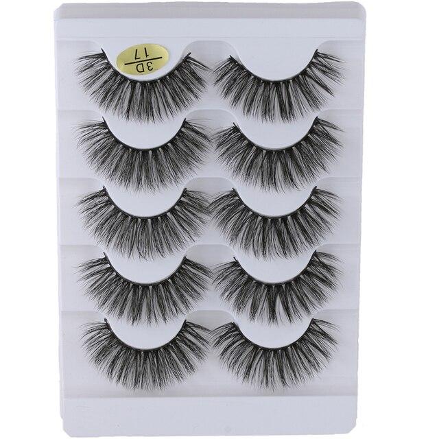 5 Pairs 3D Faux Mink Hair False Eyelashes Wispies Fluffies Drama Eyelashes Natural Long Soft Handmade Cruelty-free Black Lashes 1