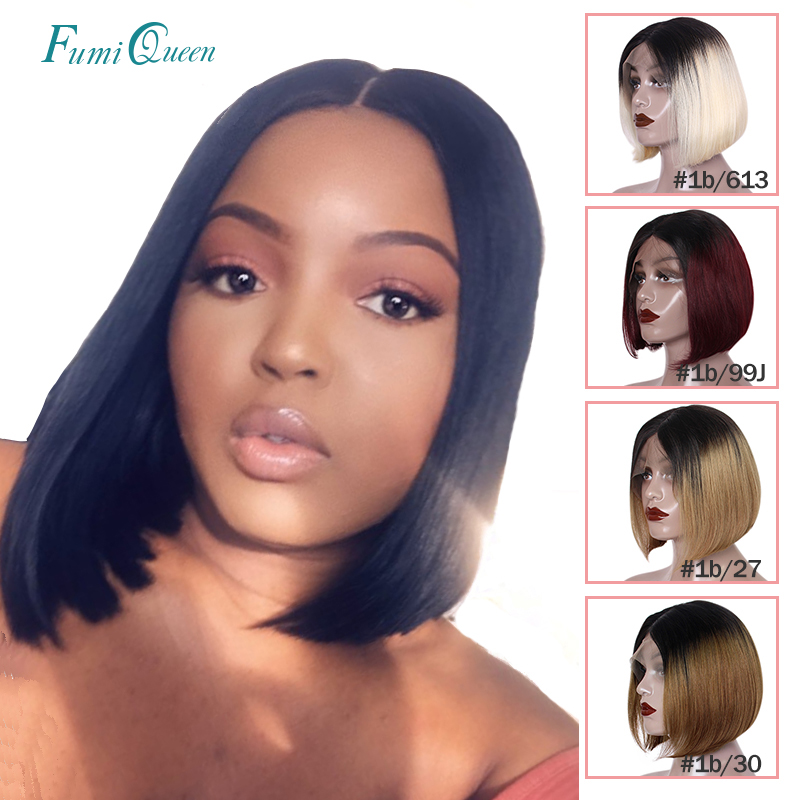 Brazilian Straight Part Lace Wigs Middle Part #1B #613 #1B/613 #1B/30 #1B/99J #1B/27 Short Bob Wigs 8