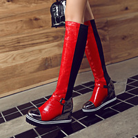Spelling Color High Patent Leather Increase With Will Code Woman Boots