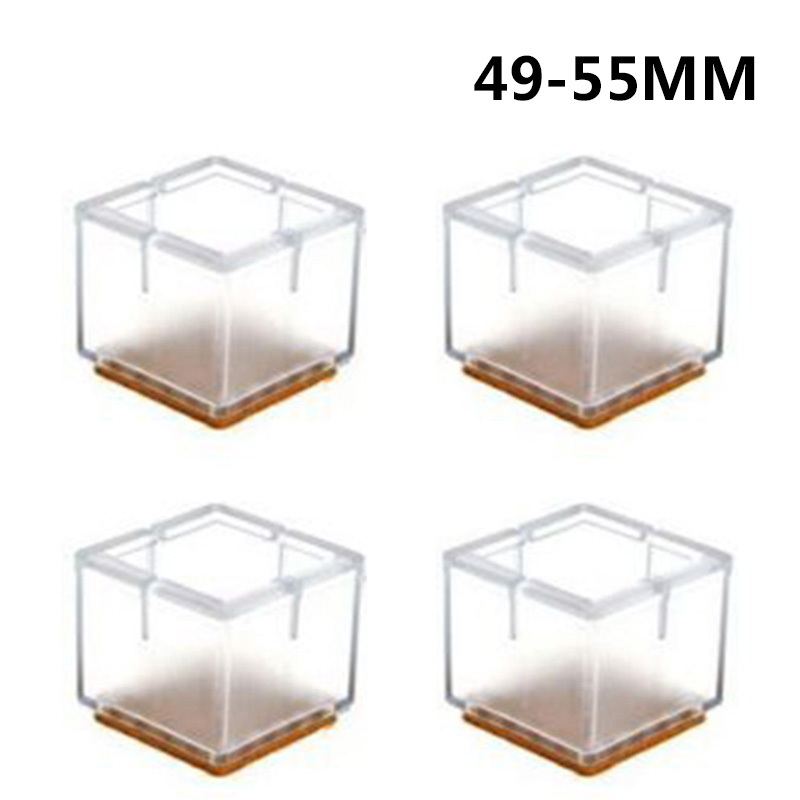 4pcs Silicone Table Feet Covers Home Furniture Table Square Feet Cover Floor Protection Chair Leg Cap Bottom Non-slip Pads Clear