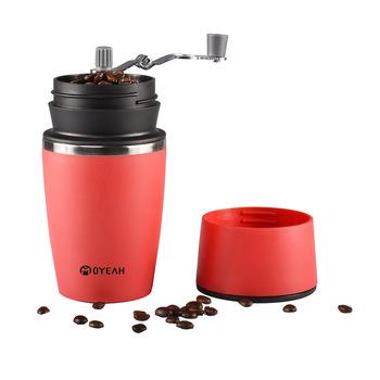 Czerwony ręczny ekspres do kawy młynek do kawy przenośny ekspres do kawy kawy naciskając butelka garnek narzędzie do kawy na zewnątrz podróży tanie i dobre opinie Donlim CN (pochodzenie) Ostrze kawy młynki