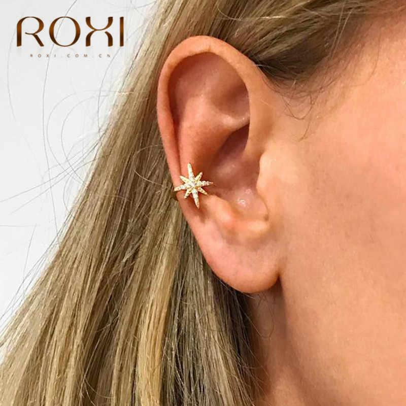 Pendiente ROXI de La Oreja de la estrella de la manera no perforada Micro pavimento CZ zirconia pequeña niña Clip pendiente para las mujeres 925 joyería de plata esterlina