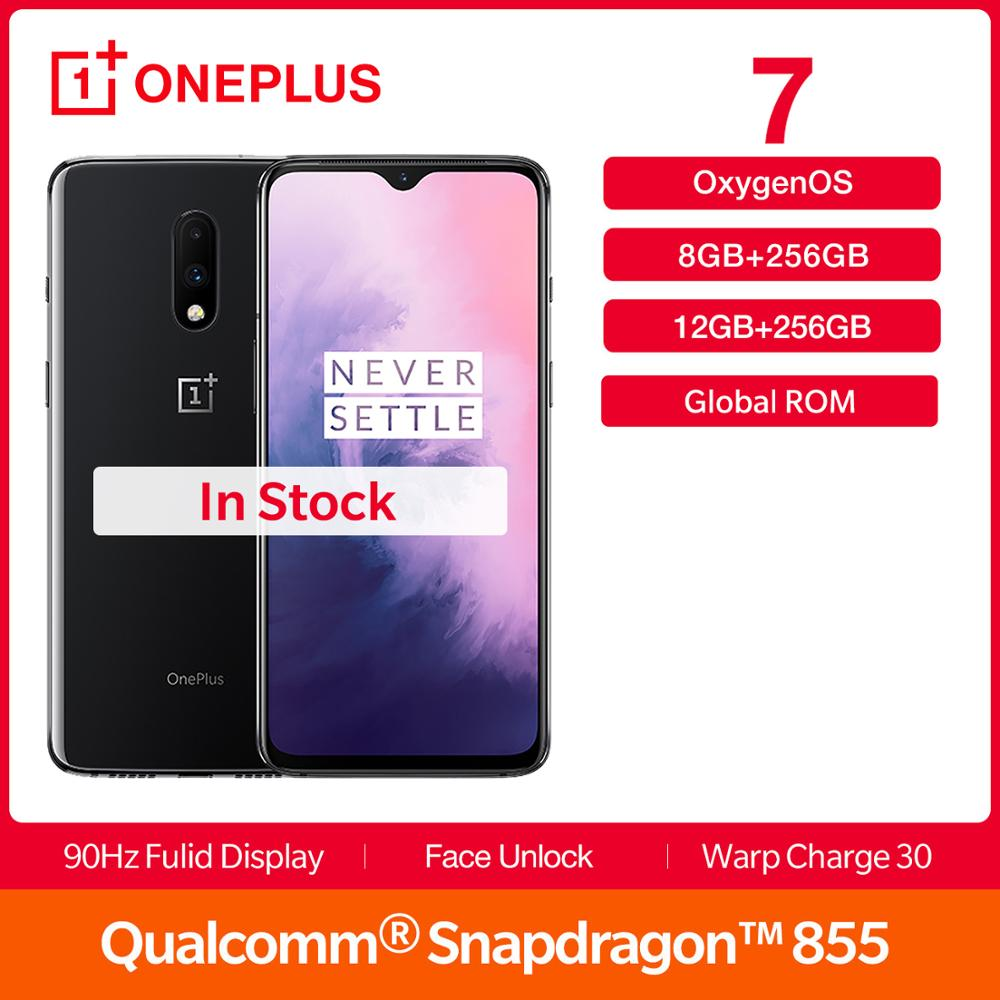 New OnePlus 7 12GB RAM 256GB Global ROM Smartphone AMOLED 6.41 Inch 48MP Dual Cam Snapdragon 855 Octa Core 3700 MAh NFC UFS 3.0