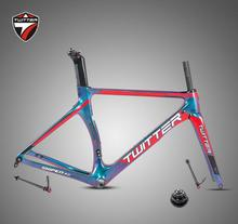 Carbon Road Bicycle Frame+Fork+Seatpost Twitter SNIPER2.0 Thru-axle Discolored F12*100 R12*142mm Disc Brake Grave Road Bike цена 2017