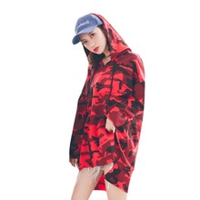 Plus Size 2019 Women Camouflage Print Long T shirt Summer Tops Streetwear Long Sleeve Loose Casual Hooded Tee Shirt 3XL