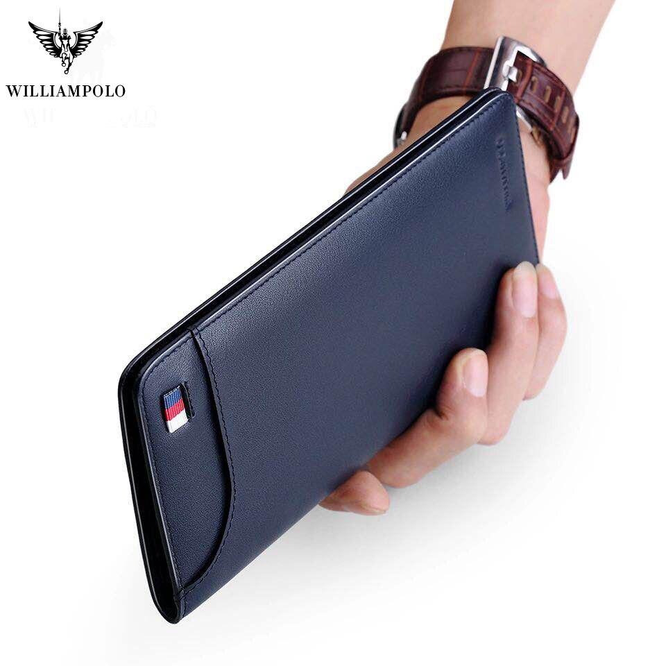 Ultrathin Slim Long Clutch Bag Credit Card Holder Men Wallet Genuine Leather Handbag Multi Card Case Cash Purse Pl302
