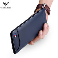 Ultrathin Slim Long Clutch Bag Credit Card Holder Men Wallet Genuine Leather Handbag Multi Card Case Cash Purse pl302(China)