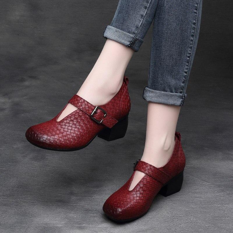Femmes en cuir pompes vin rouge talons hauts chaussures souples pour les femmes printemps noir en cuir véritable femmes pompes rétro Mary Jane Shoes2020