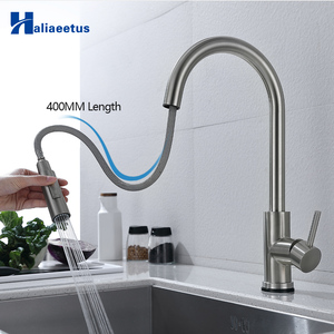 Kitchen Faucets Smart Sensor Pull-Out Hot and Cold Water Switch Mixer Tap Smart Touch Spray Tap Kitchen Convenient Black Faucets