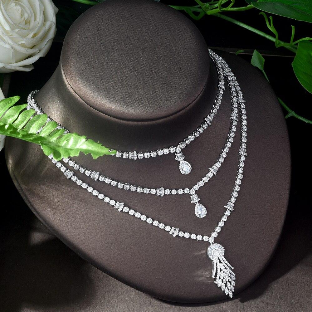 HIBRIDE Vintage circón cúbico 4 piezas conjunto de joyas piedra brillante grande nupcial boda joyería conjunto bijoux mariage parure N 1122 - 5