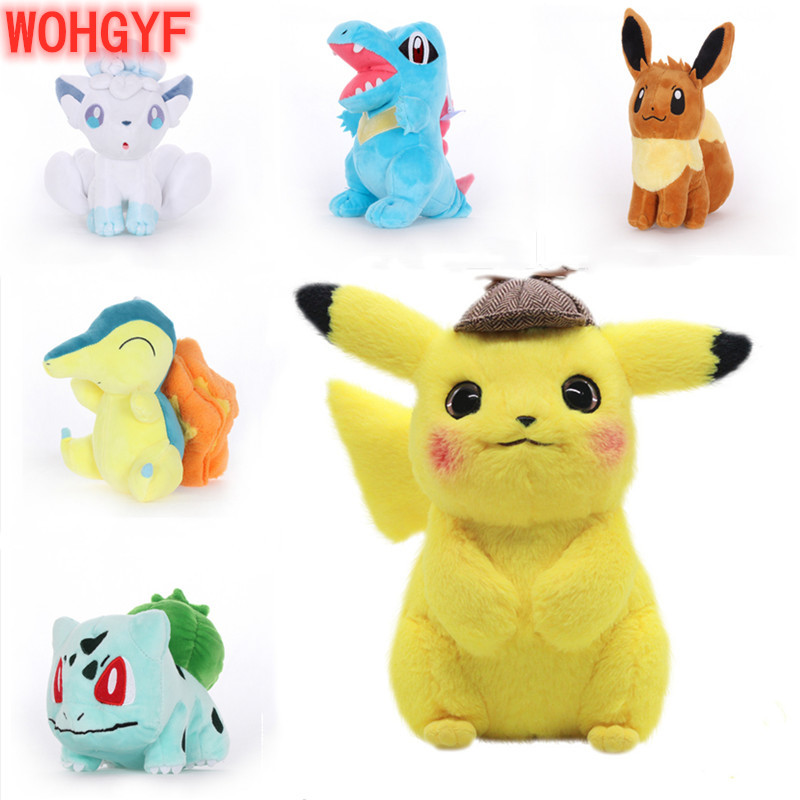 39 Style Detective Pikachu Totodile Chikorita Venusaur Eevee Anime Plush Claw Doll Soft Birthday Present Kids Gift Around 20CM