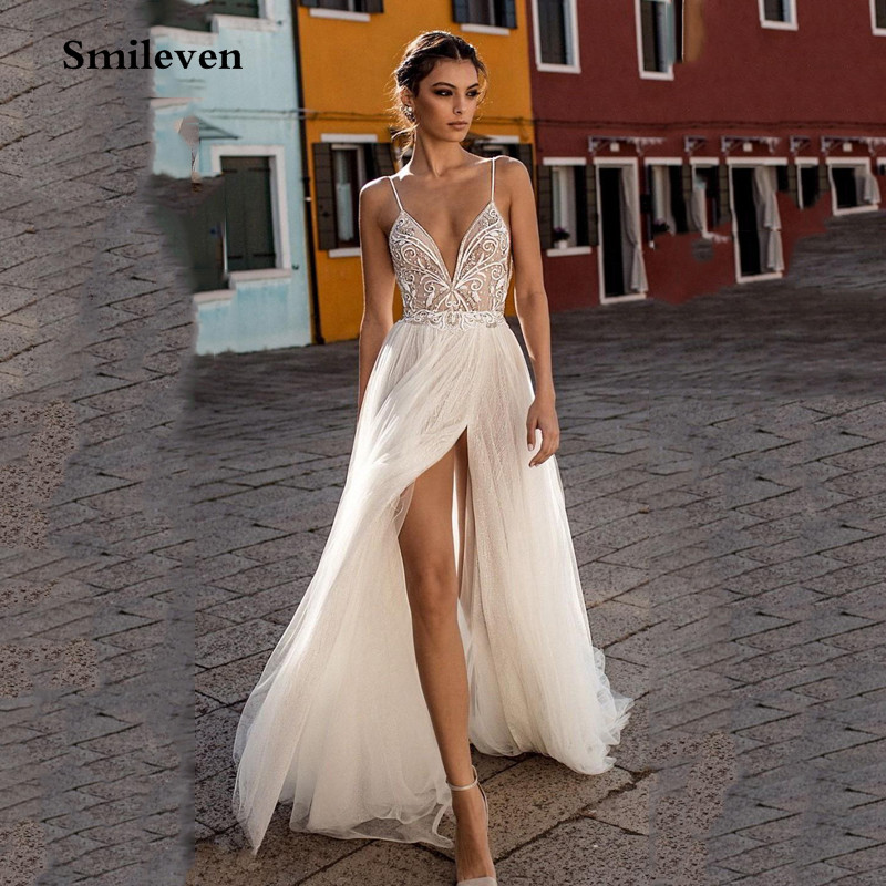 Smileven Beach Wedding Dress Boho Vestido De Noiva Bohemian Side Split Lace Bridal Dress Backless Spaghetti Straps Wedding Gowns