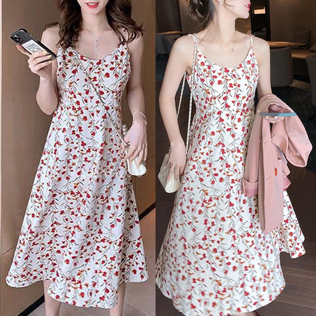 Dress women summer slim beach dressFashion Casual Women O-Neck Short Sleeve Long Dress Floral Printed Dress платье 2021
