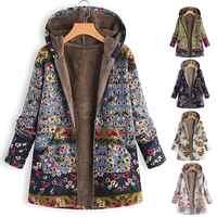Leaves Floral Print Warm Coat Women Winter Long Sleeve Hooded Jacket Fluffy Fur Fleece Cozy Zipper Outwear S-5XL