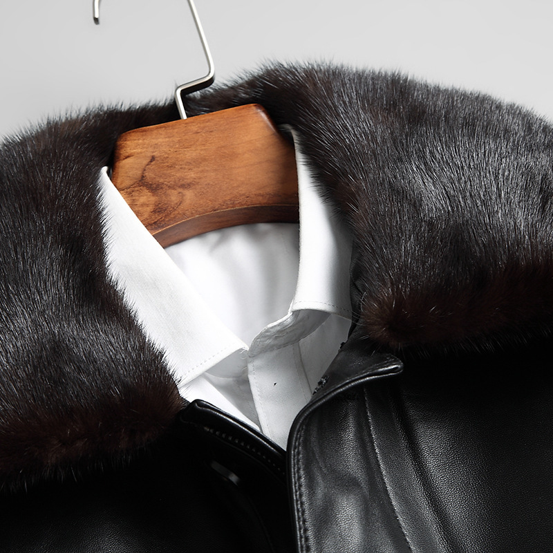 Men's Leather Jacket Sheepskin Coat Winter Genuine Leather Down Jacket Men Mink Fur Collar Jaqueta De Couro 2020 1707