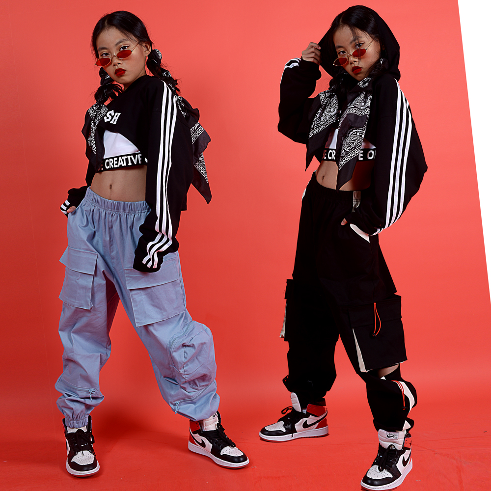 Children Jazz Kid Hip Hop Dancing Costume Ballroom Dance Clothes For Girls Sweatshirt Jogger Pants Performance Show Wear DQS3280