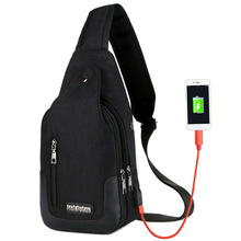 Chest Bags  Polyester Single Casual Unisex Solid Zipper Flap Sling Small Shoulder Usb Charge
