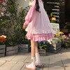 Sweet Cute Kawaii Girls Lolita Dress Princess Maid Vintage Ruffles Dresses Puff Sleeve Red Black Pink Women Dress Round Collar 2