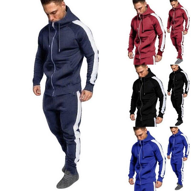 2 Pieces Sets Tracksuit Men Brand Autumn Winter Hooded Sweatshirt +Drawstring Pants Male Stripe Patchwork Hoodies