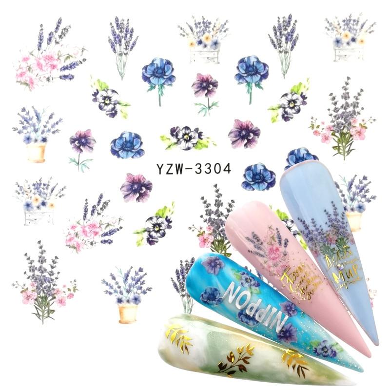 YZWLE 1PC Nail  Flower Series Nail Art Water Transfer Stickers Full Wraps Deer Lavender Nail Tips DIY