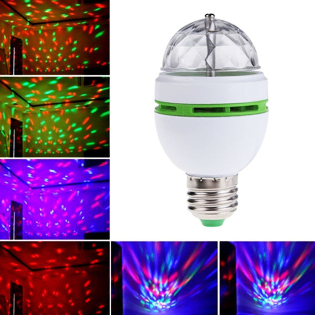 E27 3W Auto Rotating RGB LED Bulb Stage Light Colorful Party Lamp Disco KTV/Ballroom/Bar Decoration Lighting Led Lamps Wholesale