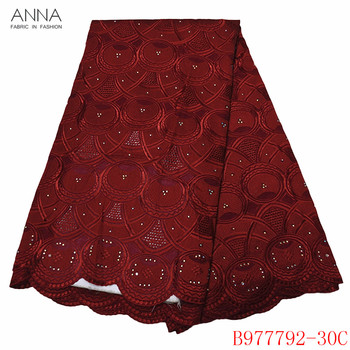 Anna burgundy voile lace swiss lace african laces 2020 embroidered with stones 5 yards/pcs 100% cotton fabric for garment sewing