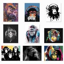 Quadros sem moldura por números animais em tela fotos por números decoração para casa estilo macaco