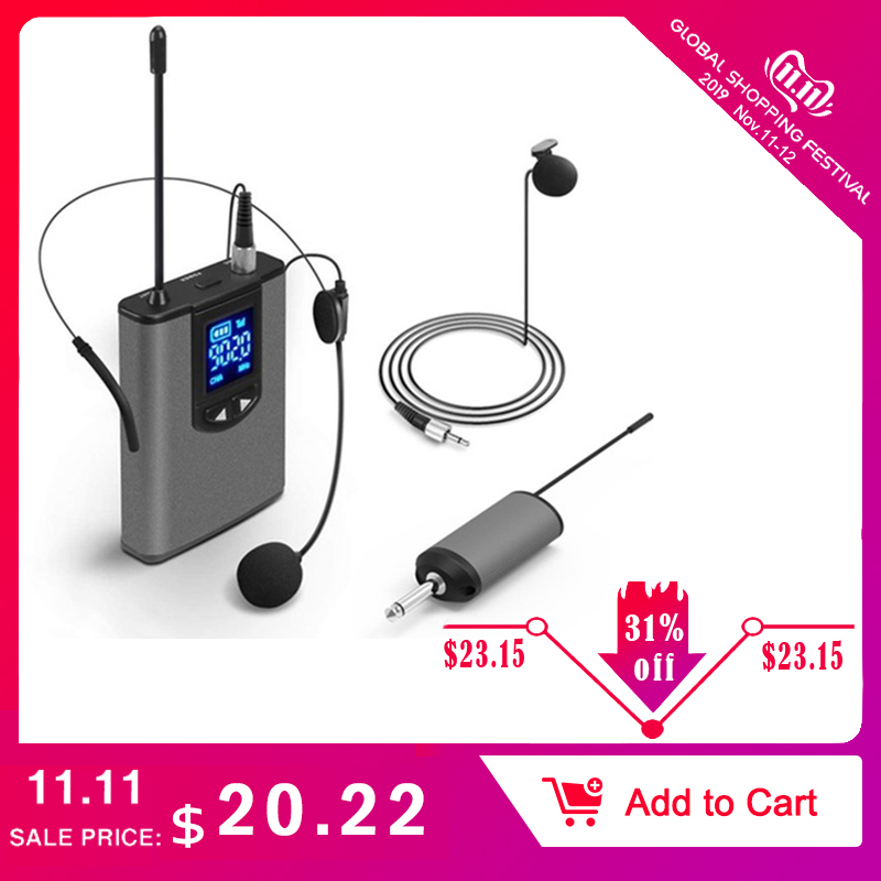UHF Wireless Microphone Lavalier Headworn With Bodypack Transmitter Rechargeable Receiver 1/4