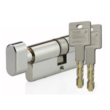 C+ class Security lock cylinder single open 304 stainless steel shell 360° idling 3D core 48 blade with escape knob 9pcs keys