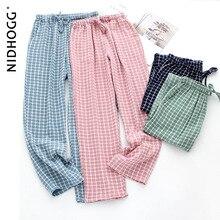 Trousers Pyjama Bottoms Casual-Pants Plaid Plus-Size Women's Pure-Cotton And Couple's