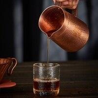 1 adet 400Ml Saf Bakır El Yapılmış Kabartma Süt Sürahi/Sürahi Latte Sanat Sürahi çay bardağı Barista için