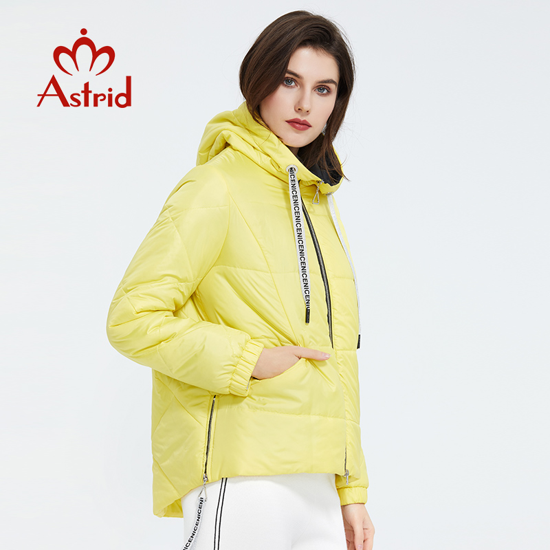 Astrid 2020 Spring Women Parka  Tide Brand  Coat Warm Jacket  Bright Women's Jacket Thin Cotton  Casual  Short  Big Size ZM-3555