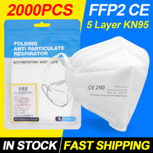 2000 pçs ffp2mask ffp2 máscara kn95 95% filtro máscaras faciais mascarilla respirador anti-poeira 5 camadas filte boca mascarilla mondkapjes