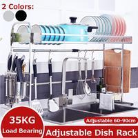 Escurridor de vajilla para el fregadero, escurridor de vajilla con soporte para ahorro de espacio, estante de Almacenamiento de suministros de cocina, 60-90cm