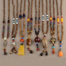 1PC Popular Handmade Nepal Ethnic Necklace Horn Jewelry Buddhist Wood Beads Necklace Accessories Long Bodhi Pendant 18 Colors недорого