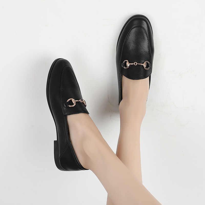 Thương Hiệu Đế Bằng Nữ Giày Đi Dạo Mùa Xuân, Mùa Thu 2020 Trang Trí Kim Loại Thời Trang Nữ Phẳng Giày Loafer Nữ 932655