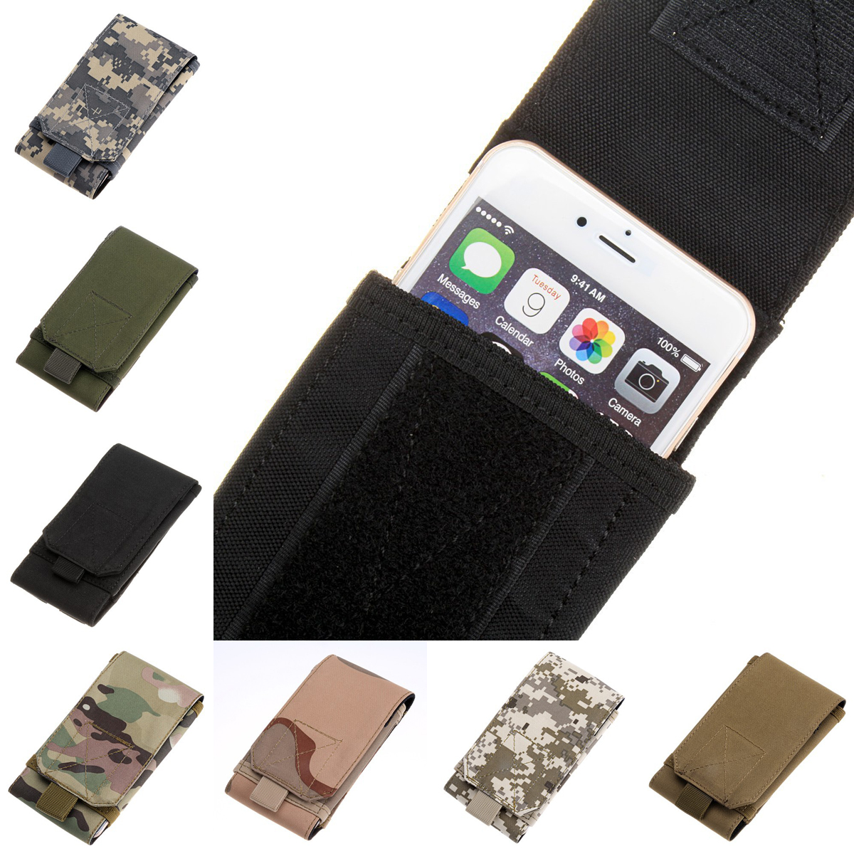Tactical Molle Outdoor Army Style Hook Loop Belt Pouch  Carry Mobile Phone Cover Case S5 Nylon