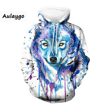 3D Wolf Hoodie Men Hooded Streetwear Kpop Sweatshirts Korean Oversized Harajuku Hip Hop Sweatshirt For Couple Polerones